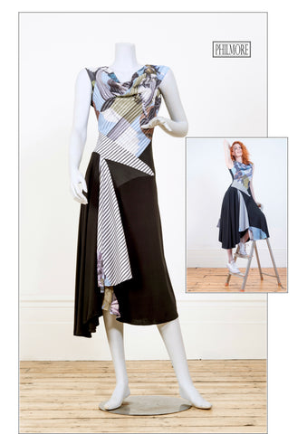 Hybrid dress in cotton voile layers