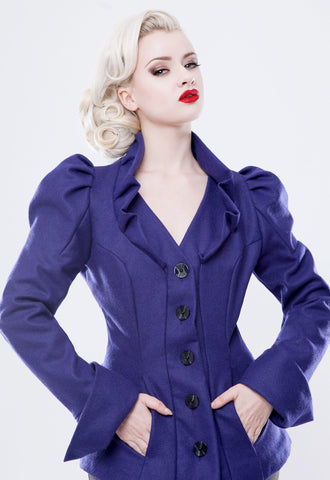 Scala pleated shoulder wool jacket.