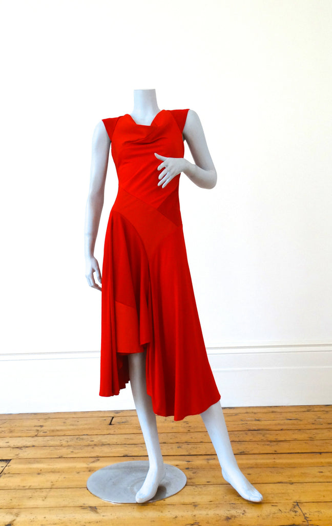 Hybrid Dress in Textured Red
