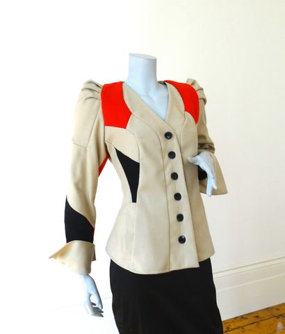 Scala pleated shoulder wool jacket ( Collarless in camel, red & black )
