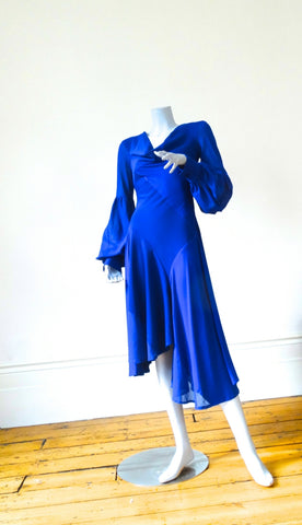 Hybrid Dress in Royal Blue with Balloon Sleeves