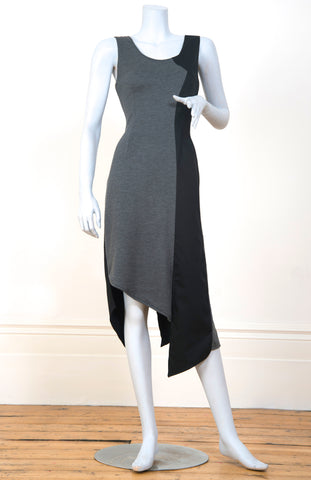 Charcoal Split Shadow Dress with Black