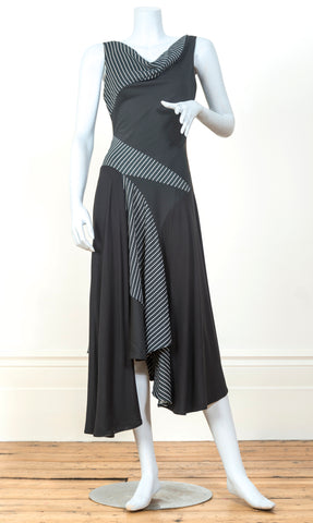 Hybrid dress in black & white stripe