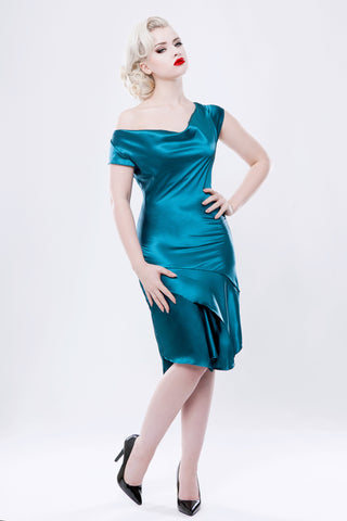 Faux-silk Teal Stretch Satin Cowl Neck Dress ( made to order )