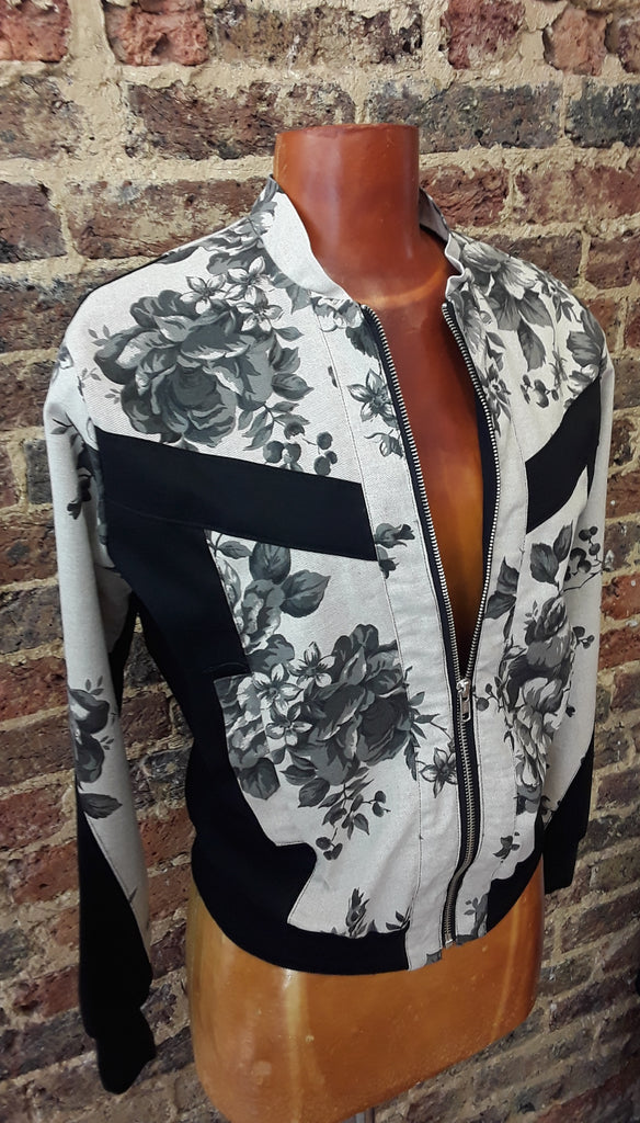 Floral Ticking Bomber Jacket