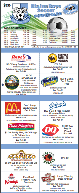 Blaine High School Boys Soccer Coupon Card
