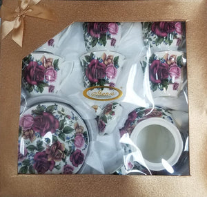 13 PC TEA SET IN GIFT BOX- FLOWER, PEACOCK