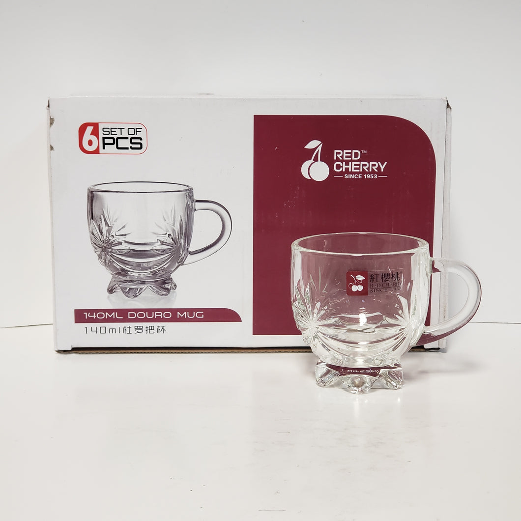 6 PC GLASS TEA CUP SET - ROUND