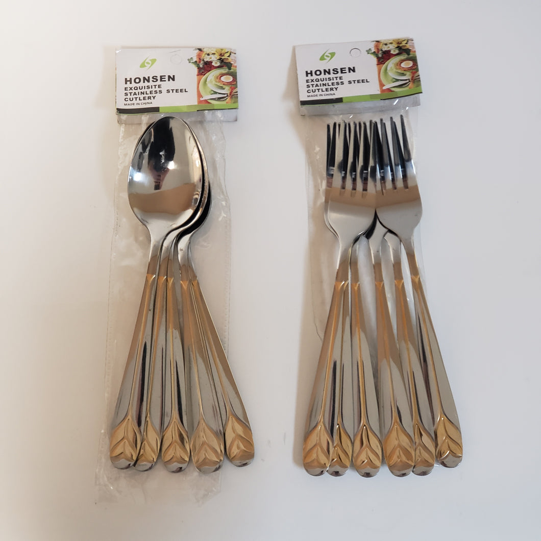 6 PC DESSERT SPOON/FORK SET