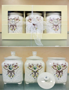 "3 PC CANISTER SET IN GIFT BOX - ""GARDEN"""