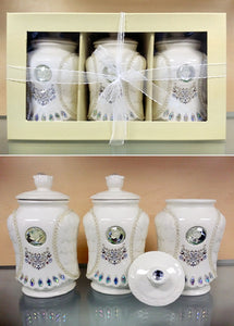 "3 PC CANISTER SET IN GIFT BOX - ""RAIN"""