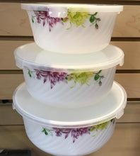 Load image into Gallery viewer, 3 PC CASSEROLE SET WITH PLASTIC LID - OPAL WARE