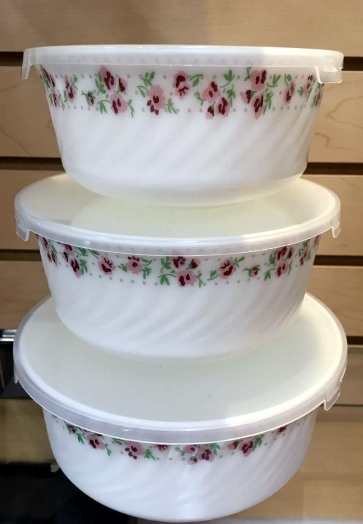 3 PC CASSEROLE SET WITH PLASTIC LID - OPAL WARE