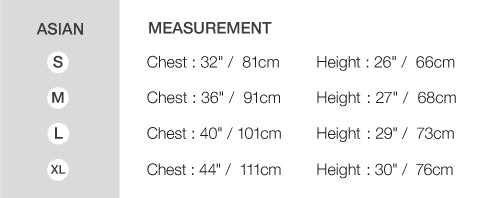 Size Chart (we use asian size please see the measurement)