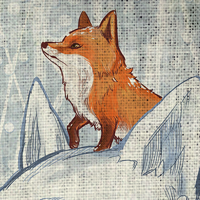 Tenugui - Snow Fox - Unikat, Unique, Einige, Cool, Manga Comic Style Design