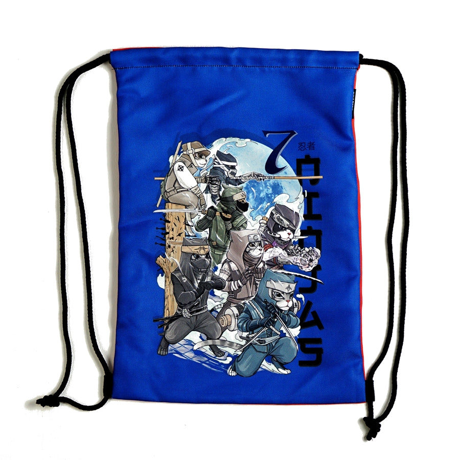Drawstring Bag - Ninja Cat vs Samurai Dog - Unikat, Unique, Einige, Cool, Manga Comic Style Design