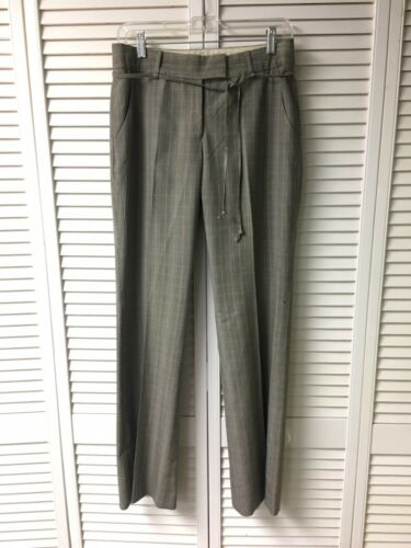 Anne Klein Women's Size 4 Pinstripe Plaid Dress Pants W/ Belt And Pockets