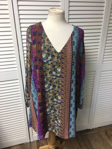 Intu Women's Size XL Multicolor Dress Patterned Long Sleeve W/ Slits Down Arms