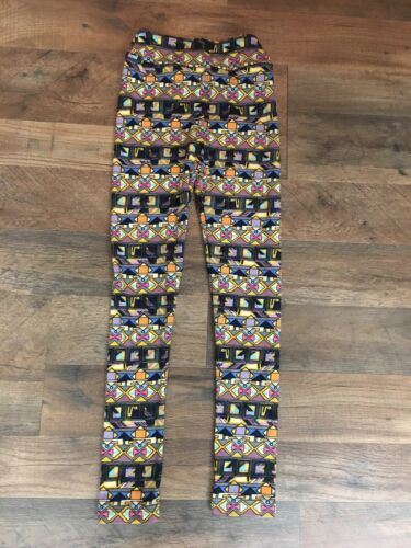 LuLaRoe Girls Leggings Size L/XL Multicolor Patterned Design Very Soft Feel
