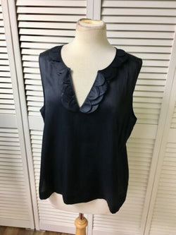 Talbots Petites Women's Size 16P Black Sleeveless Blouse Silky Feel V-Neck