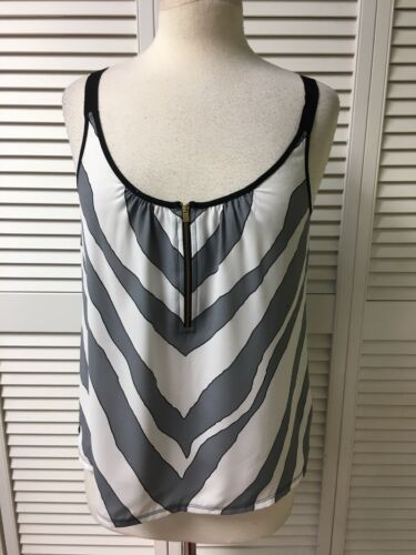 Express Women's Size Medium Tank Top Blouse W/ Quarter Zip Front Zebra Print