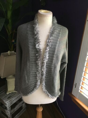 Chicos Women's Size 1 Grey Sweater Open Front W/ Fur Style Edges