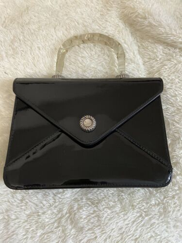 59's Vintage Black Patent Leather With Clear Lucite Frame Pin Up Bag