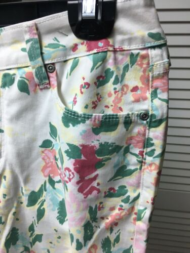 NYDJ Women's Size 6P Jeans White W/ Multicolor Floral Pattern