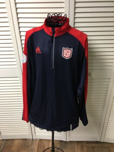 Adidas Women's Sz S USA Long Sleeve Pull Over 1/4 Zip World Cup Of Hockey 2016