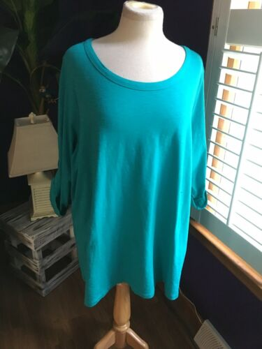 Coldwater Creek Women's Size 3X/24 Long Sleeve Blouse Teal NWT