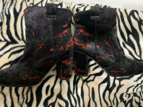 Anthropologie Velvet Green Red Black Camo Bruno Premi Boots Sz 37