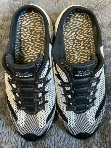 Skechers Womens Sz 8 Delites mules Shoes black White With Silver Bling