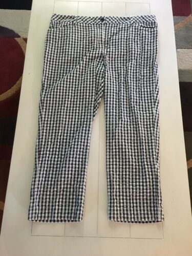 Lands End Women's Size 16 Mid Rise Straight Leg Pants Checker Print