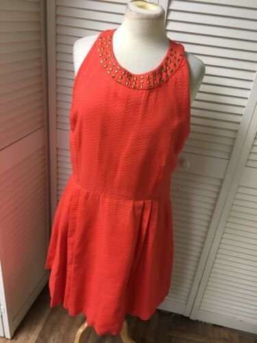 New York And Company Women's Size 18 Orange Dress Sleevess Beaded Neckline