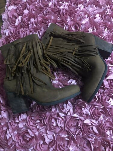 Womens Denim Supply Ralph Lauren Suede Leather Fringe Boots Sz 7