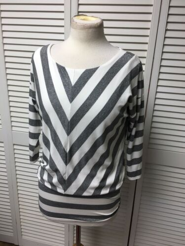 Black House White Market Women's Sz S White And Grey Sparkly Striped Blouse