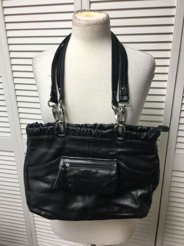 Stone & Co Black Handbag With Removable Straps Zipper Pockets Zipper Closure