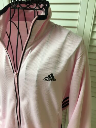 Adidas Womens Size Medium Pink Jacket Long Sleeves Zip Up With Pockets