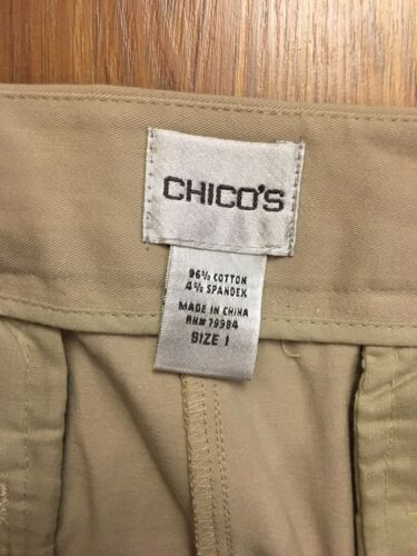 Chico's Women's Size 1 Beige Khaki Capri Pants Cuffed Leg Bottoms