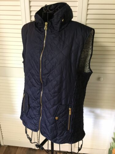 Miami Womens Size Small Navy Blue Vest Zip Up W/ Extremely Soft Inside Lining