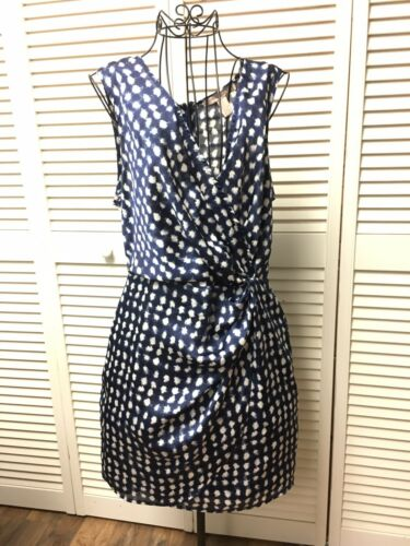 Forever 21 Women's Size Medium Sleeveless Dress Navy Blue W/ White Dots