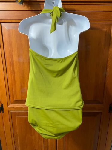 Womens Lands End Canvas 1963 Olive Green 2 Piece Tankini Set L