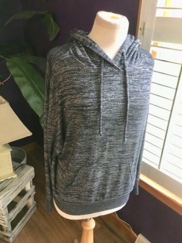 Gap Women's Size Small Heather Grey/Navy Long Sleeve Hoodie W/ Pocket