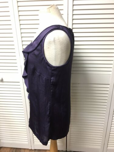 Michael Kors Women's Size 4 Purple Sleeveless Blouse Ruffled V-Neck Silky Feel