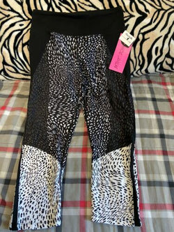 Womens Betsy Johnson Black White Animal Print Exercise Pants S