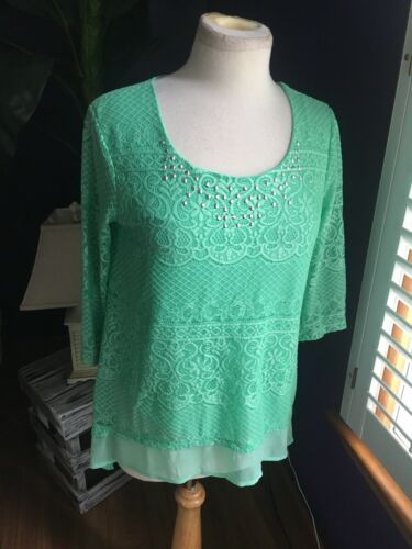 JM Collection Petite Women's Size PM Mint Green Lace Style Blouse W/ Gemstones