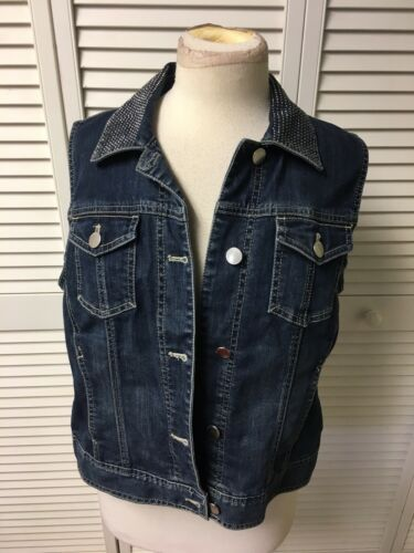 Chicos Platinum Denim 1 Women's Blue Jean Vest Rhinestones On Collar Button-Down