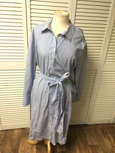 "Signature Collection Women's 52"" Chest Blue/White Striped Dress W/ Belt, Buttons"