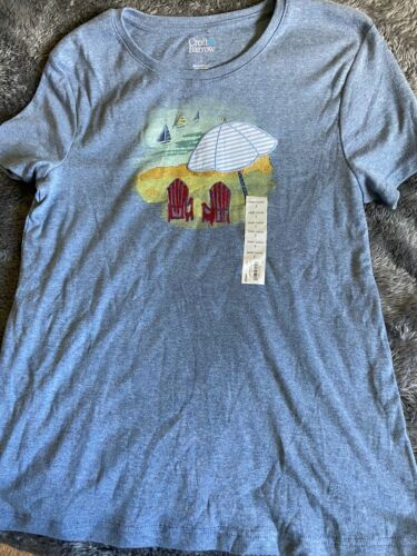 Women's Croft & Barrow T-Shirt Blue Beach Scene Sz S New With Tag
