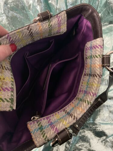 Coach Gray Wool With Multi Color Tweed Plaid Satchel Shoulder Bag